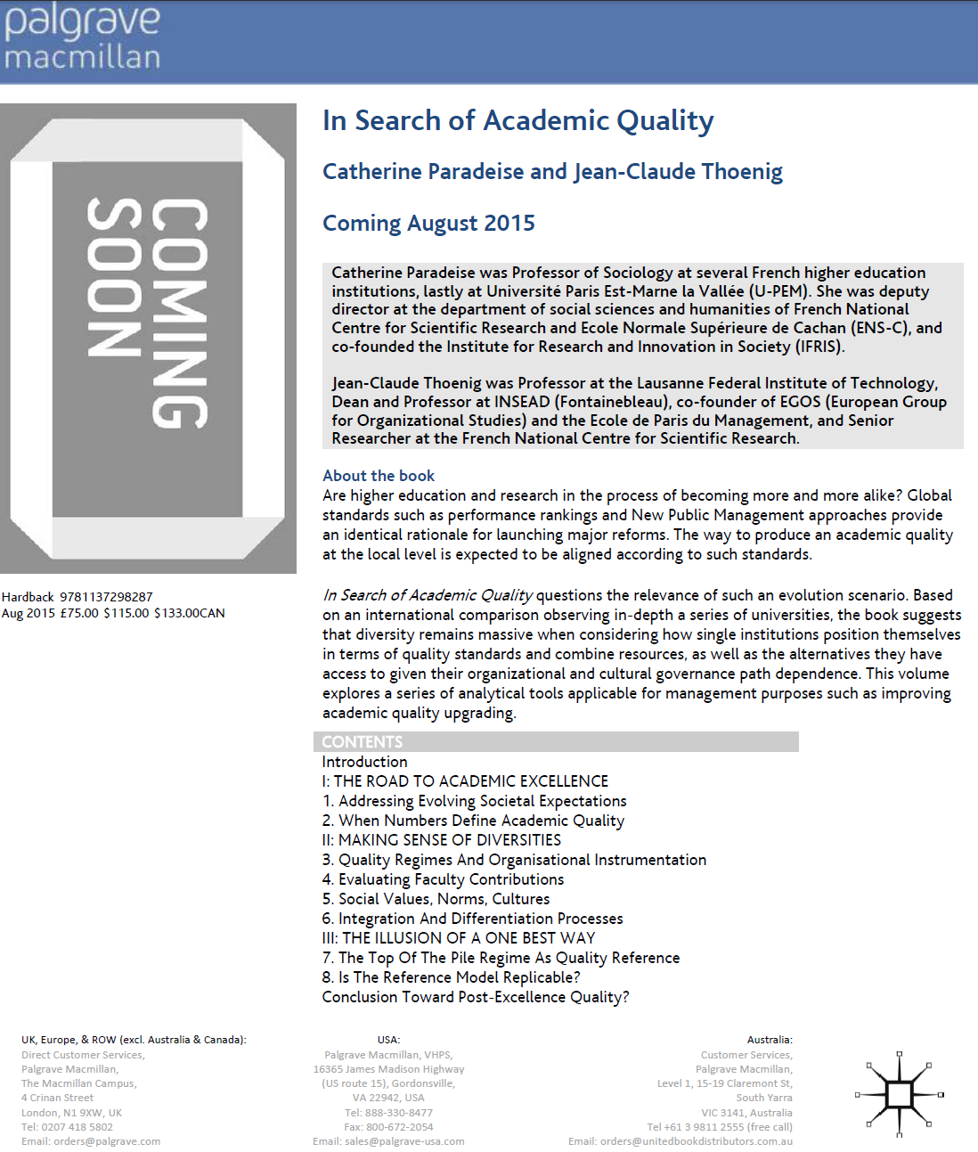 In Search of Academic Quality, Catherine Paradeise and Jean
